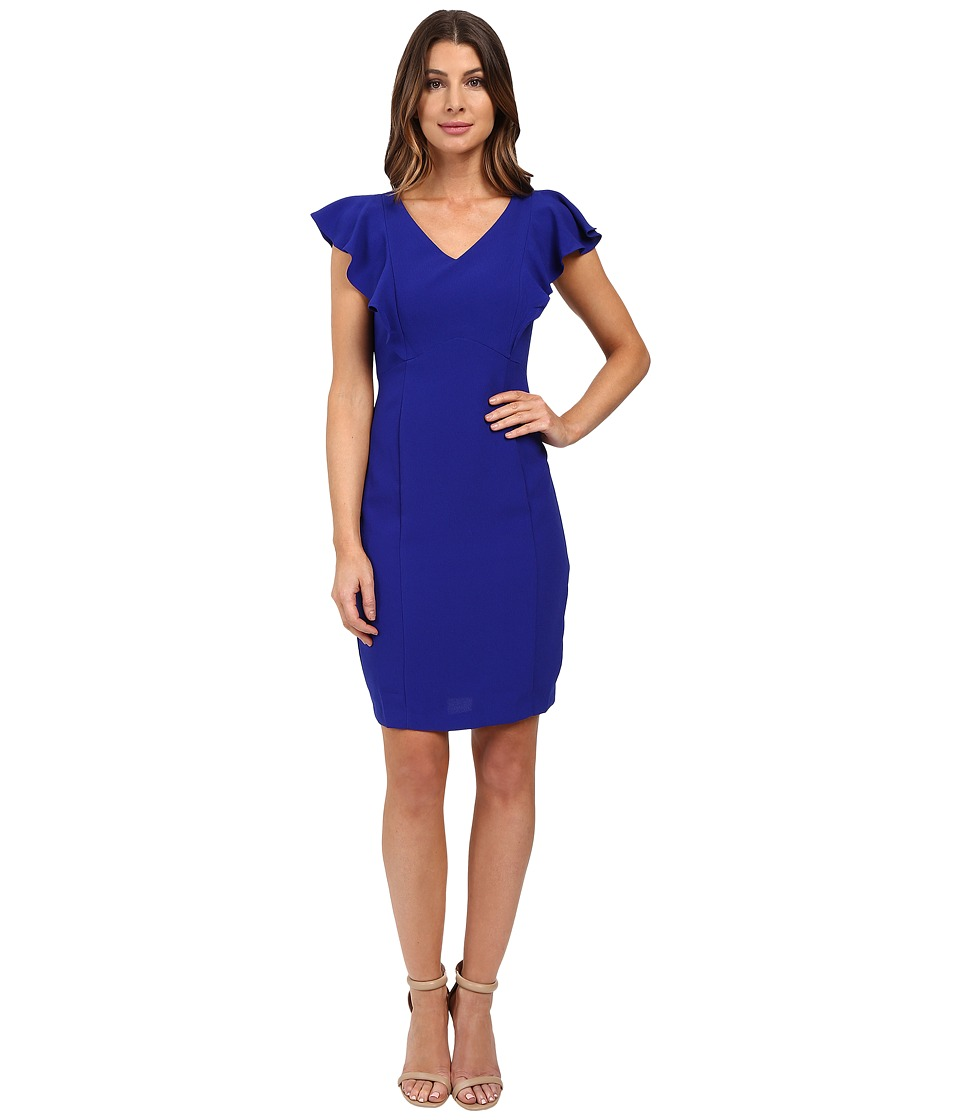 Sangria - Cap Sleeve Sheath with Ruffle Detail (Cobalt) Women's Dress