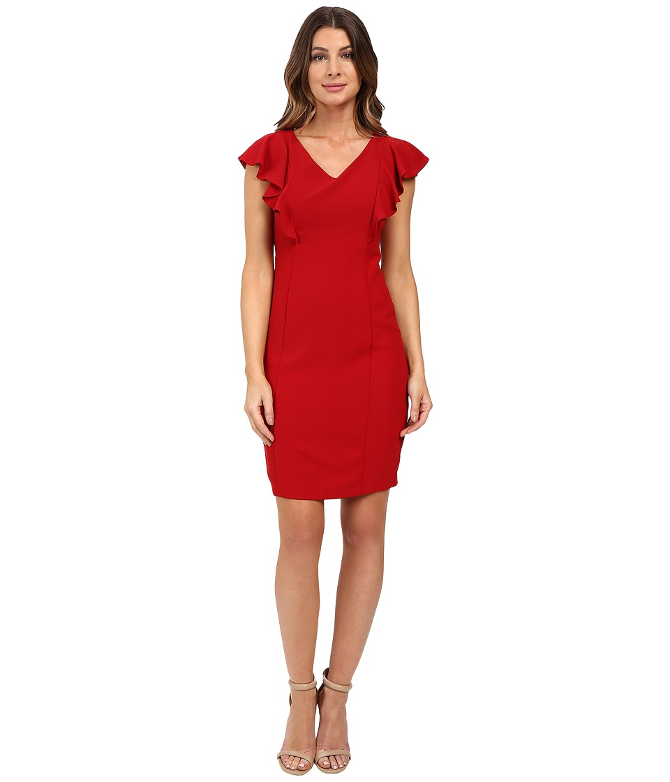 Sangria - Cap Sleeve Sheath with Ruffle Detail (Red) Women's Dress
