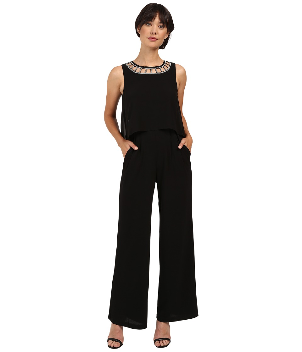 Sangria - Sleeveless Jumpsuit with Embellished Halter Neckline (Black) Women's Jumpsuit & Rompers One Piece