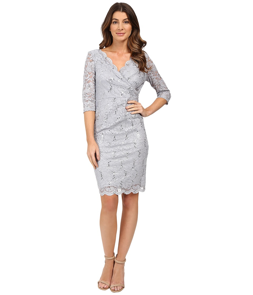 Sangria - Elbow Sleeve All Over Lace Sheath (Sterling) Women's Dress