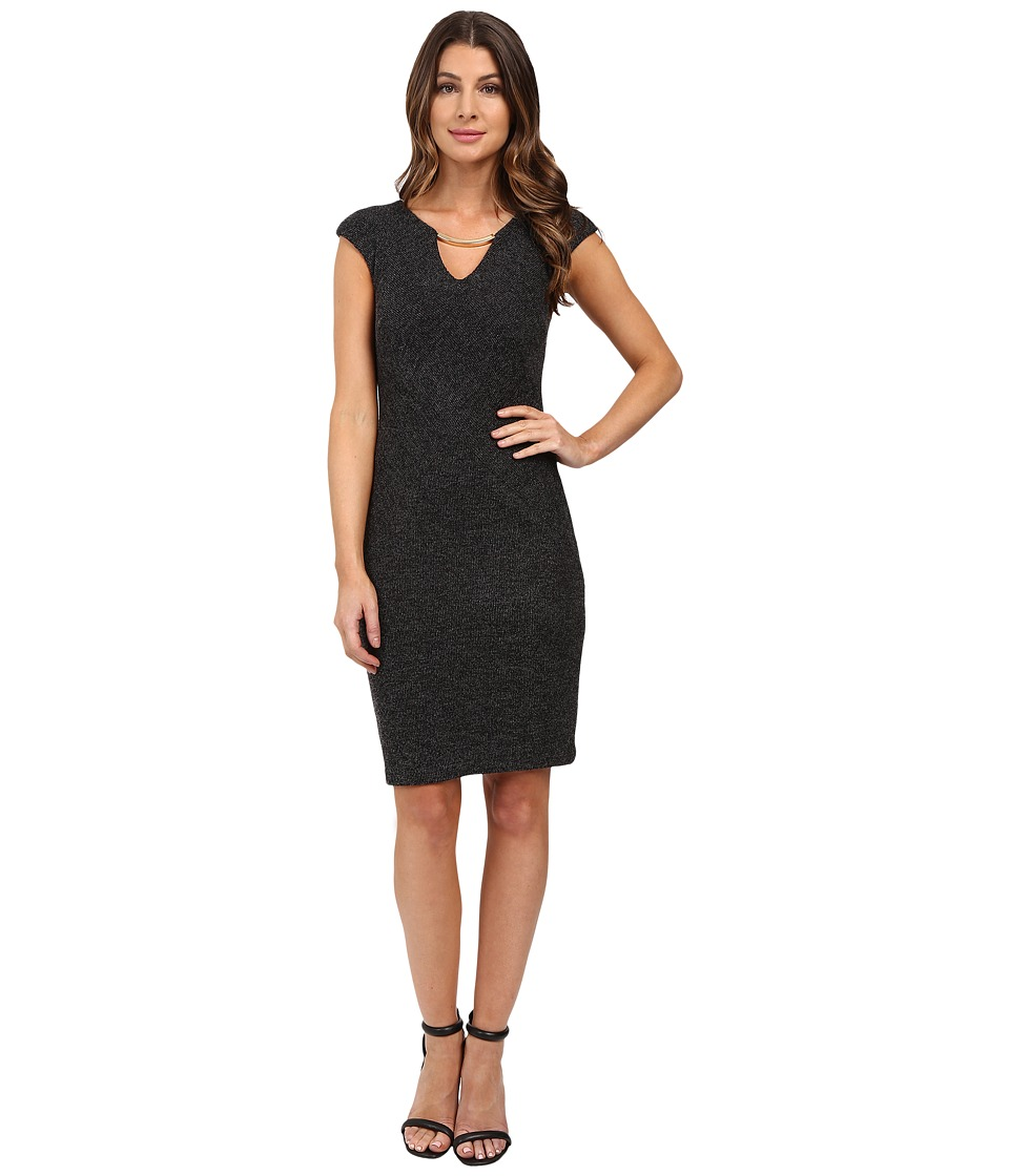 Sangria - Cap Sleeve Sheath with Keyhole Detail (Charcoal) Women's Dress
