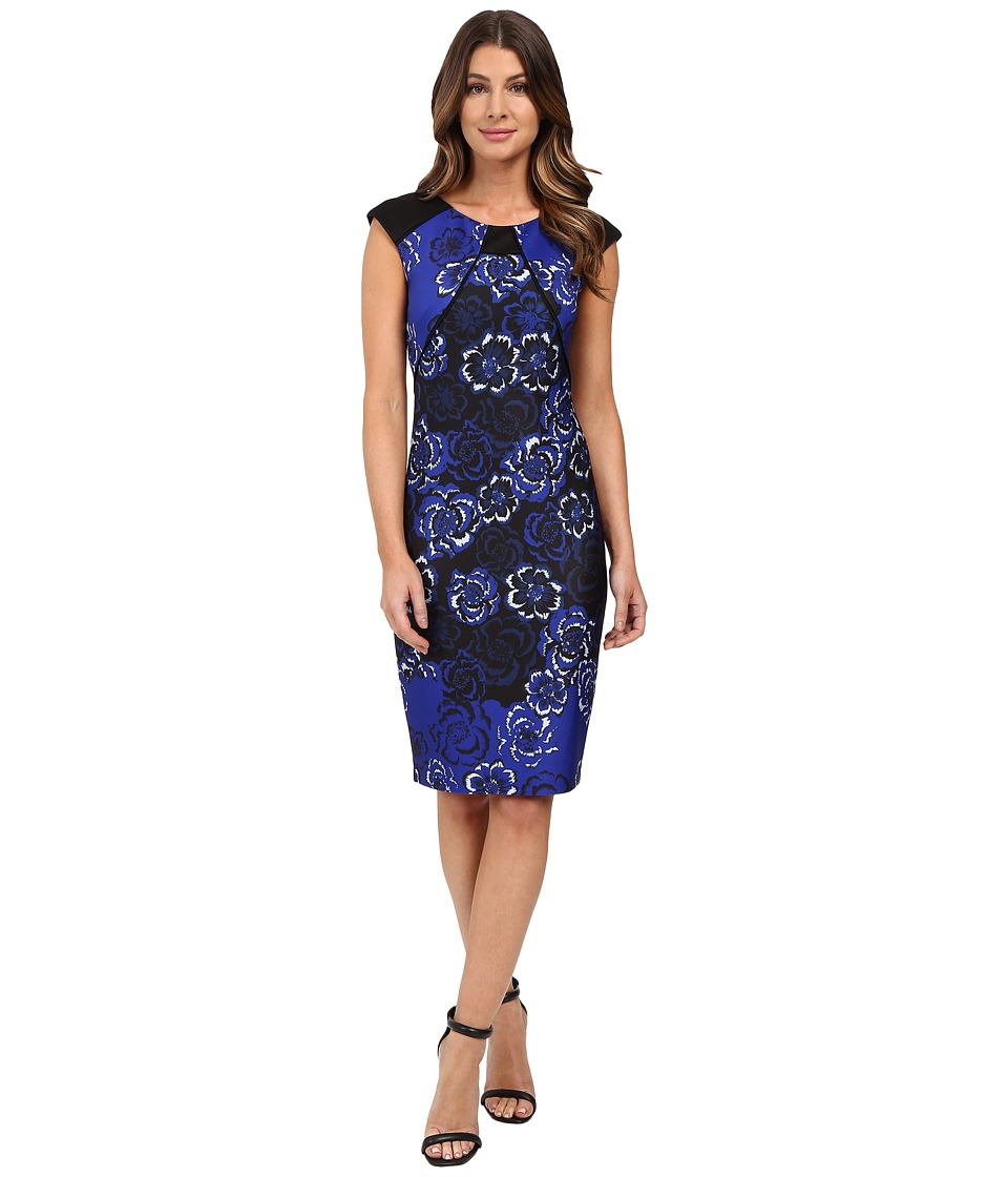 Sangria - Cap Sleeve Printed Sheath (Royal/Black) Women's Dress