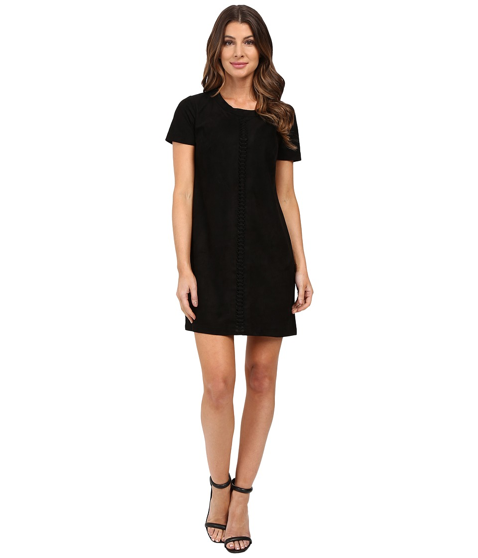 Sangria - Short Sleeve Faux Suede Shift (Black) Women's Dress