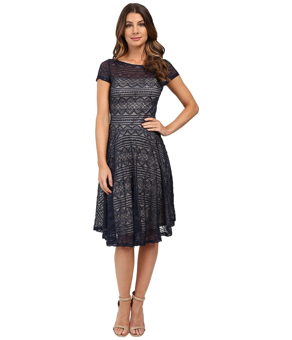 Sangria - Short Sleeve All Over Lace Fit and Flare (Navy) Women's Dress