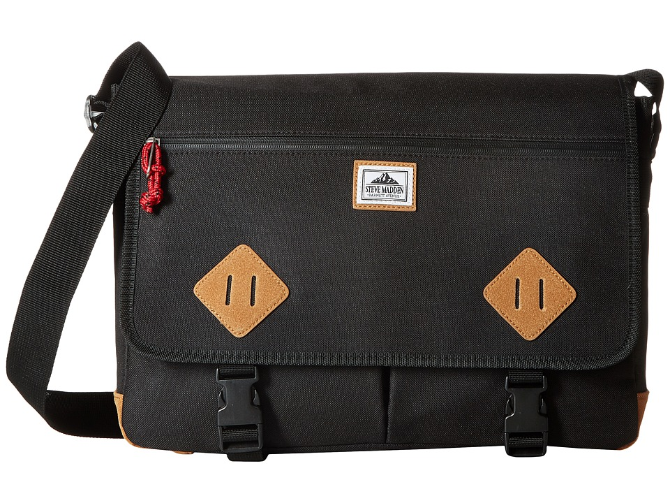 Steve Madden - Solid Nylon Messenger (Black) Messenger Bags
