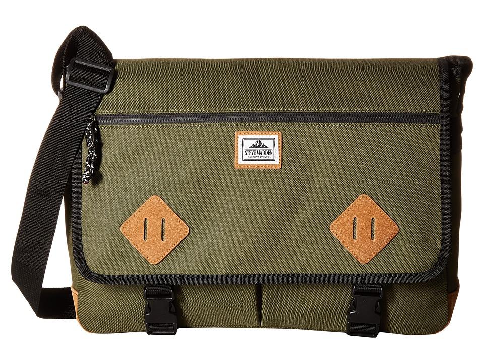Steve Madden - Solid Nylon Messenger (Olive) Messenger Bags