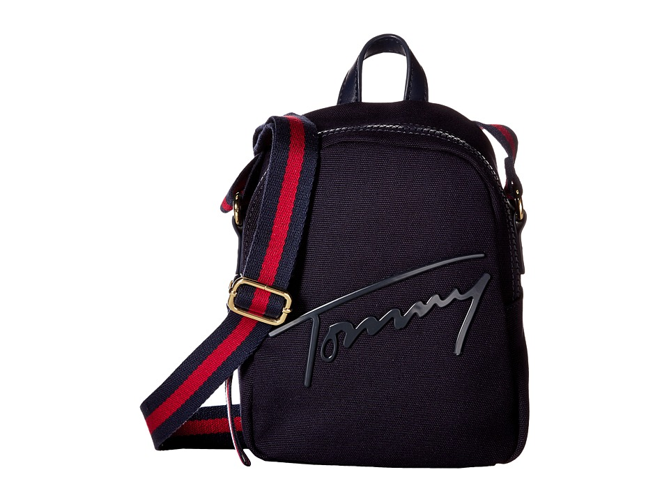 Tommy Hilfiger - Tommy Script Mini Crossbody Backpack Canvas (Tommy Navy) Backpack Bags