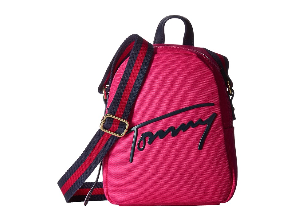 Tommy Hilfiger - Tommy Script Mini Crossbody Backpack Canvas (Bright Rose) Backpack Bags