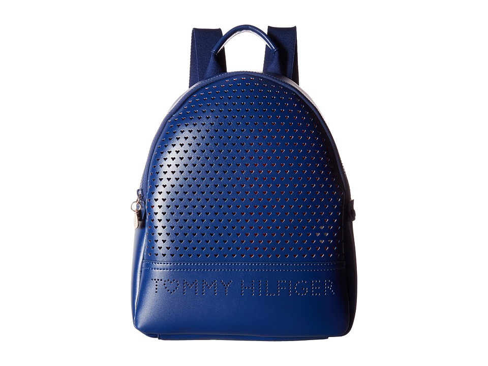 Tommy Hilfiger - Laura Dome Backpack Double Sided (Cobalt/Fiery Red) Backpack Bags