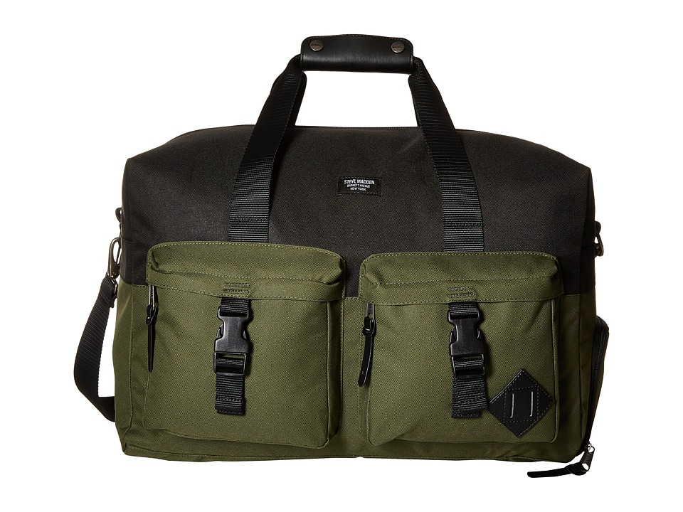 Steve Madden - Nylon Overnighter (Black/Olive) Weekender/Overnight Luggage