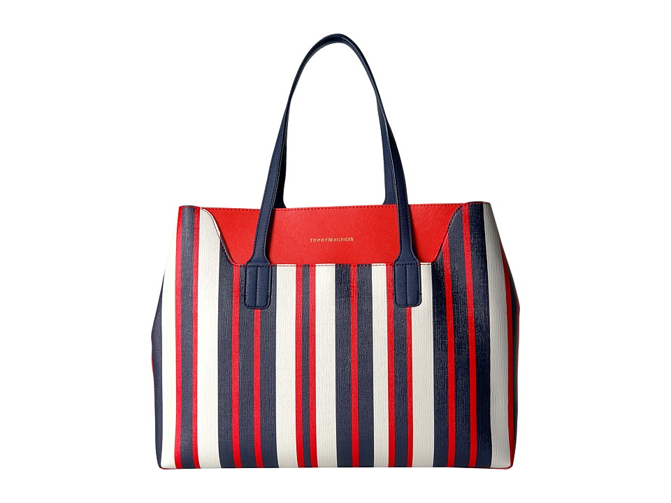 Tommy Hilfiger - Adamaria Tote Double Sided (Navy/Multi) Tote Handbags