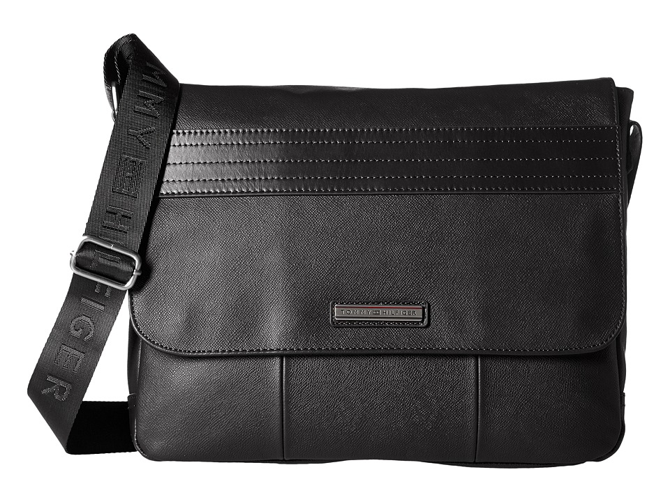 Tommy Hilfiger - Morgan Flap Messenger Leather (Black) Messenger Bags