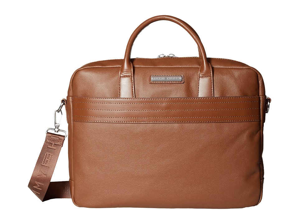 Tommy Hilfiger - Morgan Briefcase Leather (Cognac) Briefcase Bags