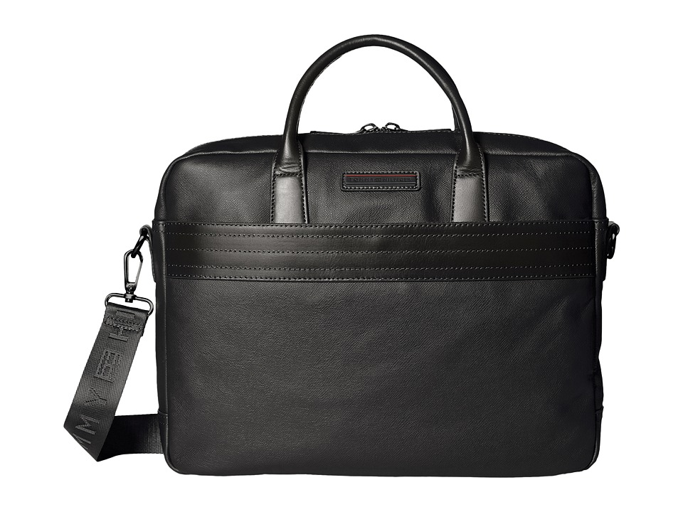 Tommy Hilfiger - Morgan Briefcase Leather (Black) Briefcase Bags