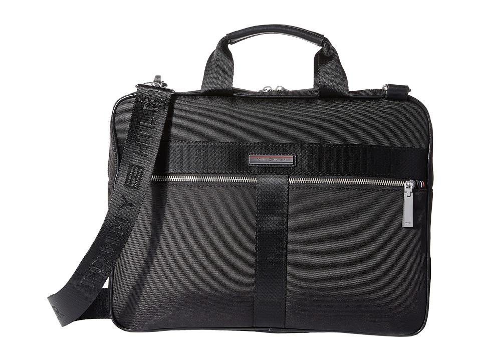 3692d761a8b Tommy Hilfiger - Darren Slim Briefcase Codura Nylon (Black) Briefcase Bags
