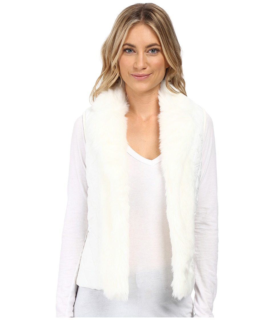 XOXO - Quilted Fur Sweater Vest (Ivory) Women's Sweater