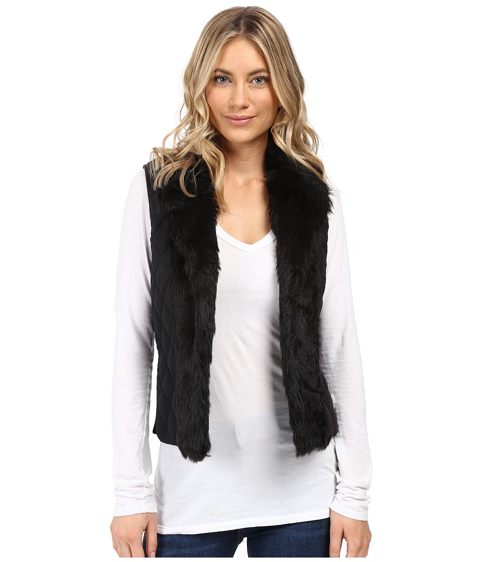 XOXO - Quilted Fur Sweater Vest (Black) Women's Sweater