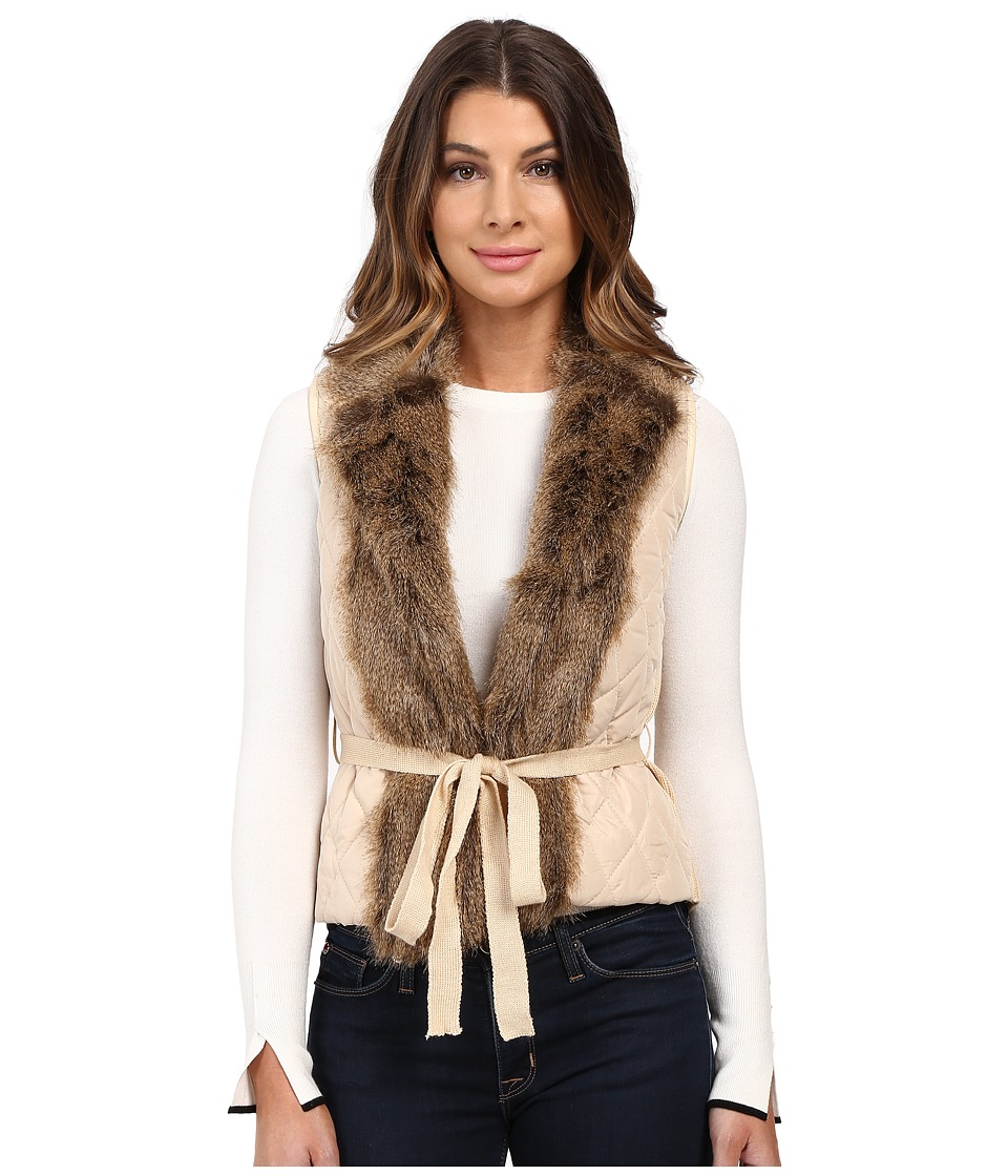 XOXO - Quilted Fur Sweater Vest (Taupe) Women's Sweater