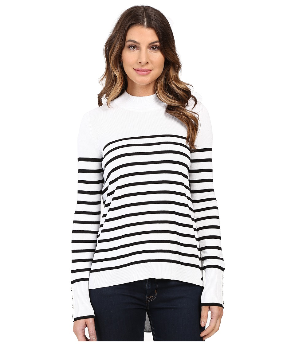 XOXO - Stripe Zip Back Mock Neck (Ivory/Black) Women's Sweater