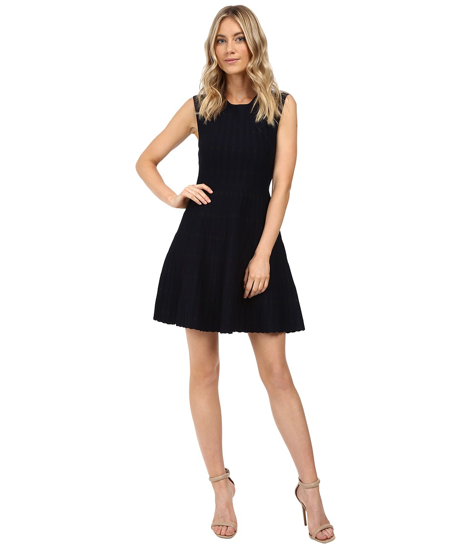 XOXO - Dot Jacquard Dress (Navy) Women's Dress