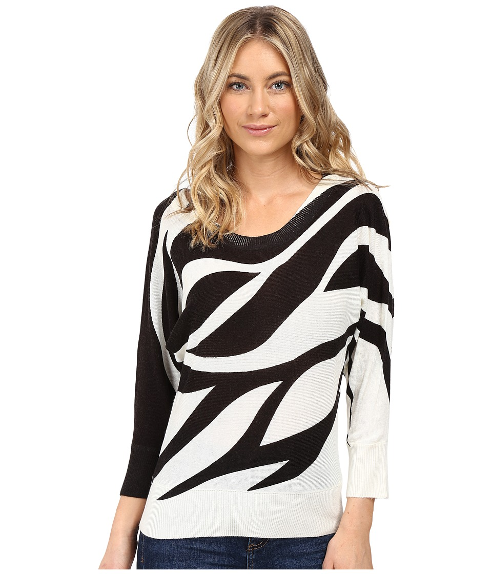 XOXO - Printed Button Back Sweater (Ivory/Black) Women's Sweater