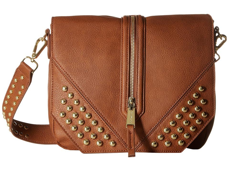 Steve Madden - Blucky Studded Saddle Bag (Cognac) Bags