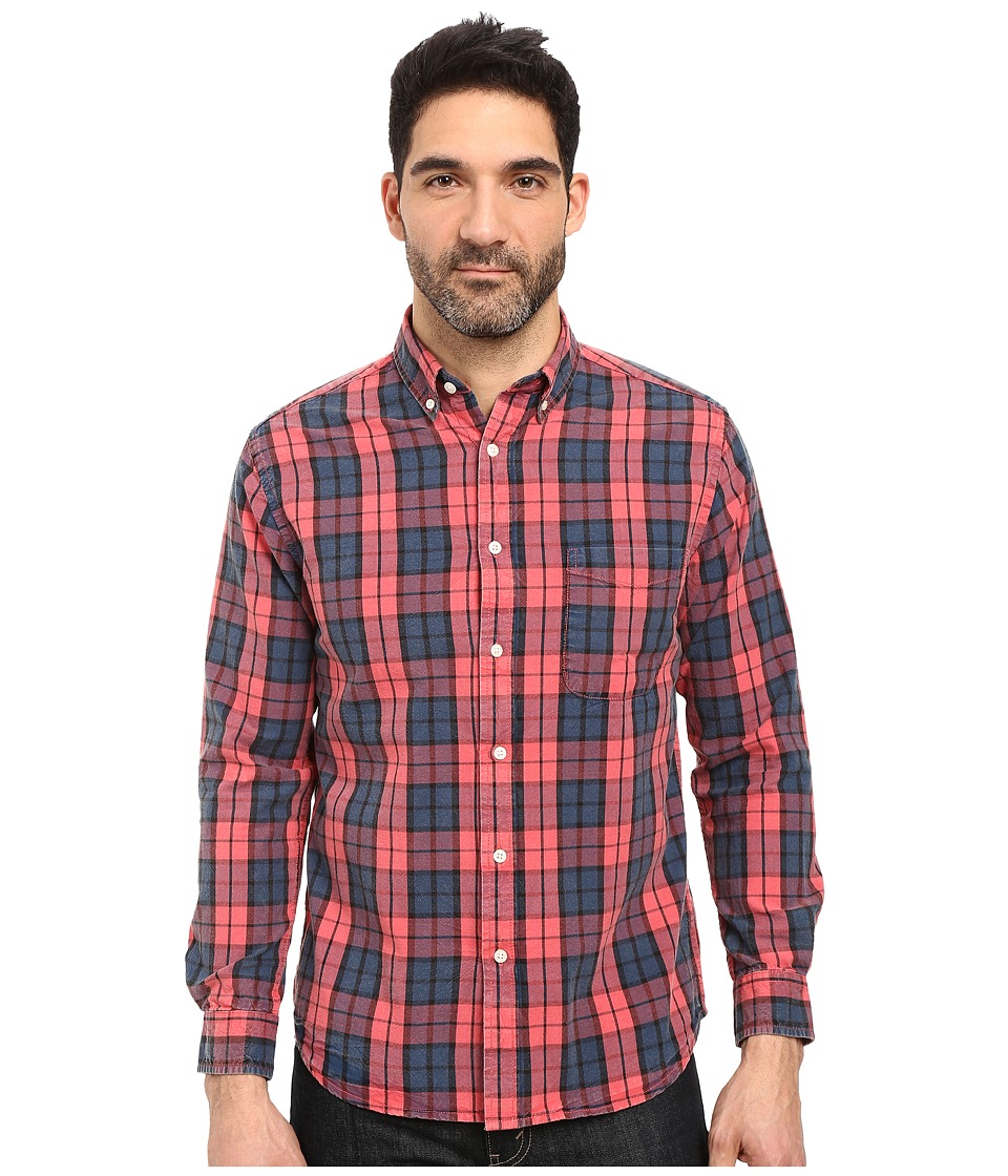 Vintage 1946 - Oxford Washed Plaid Long Sleeve Woven Shirt (Red Coral) Men's Long Sleeve Pullover