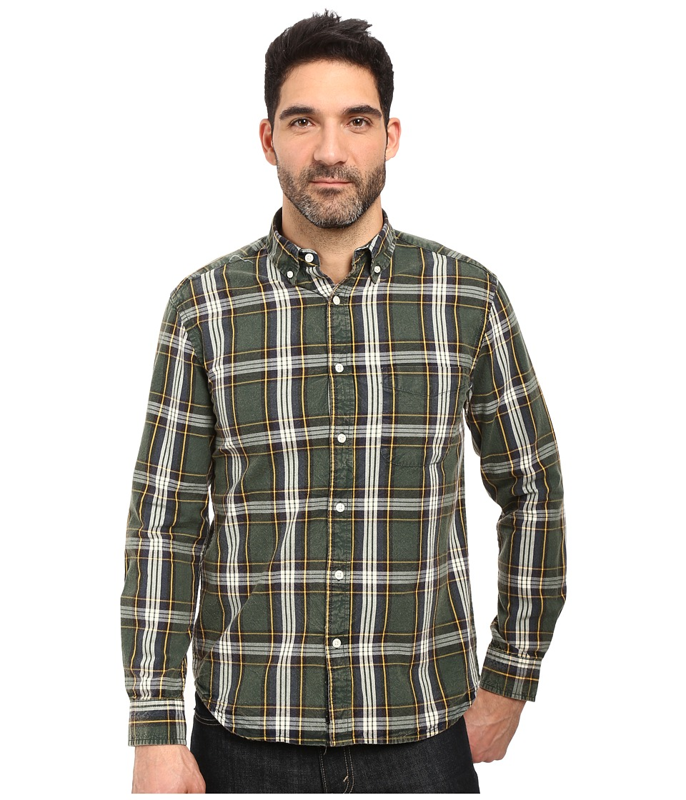Vintage 1946 - Oxford Washed Plaid Long Sleeve Woven Shirt (Hunter) Men's Long Sleeve Pullover