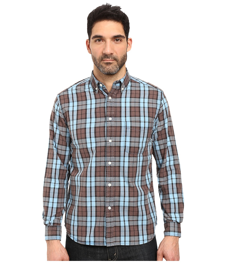 Vintage 1946 - Oxford Washed Plaid Long Sleeve Woven Shirt (Citadel Blue) Men's Long Sleeve Pullover