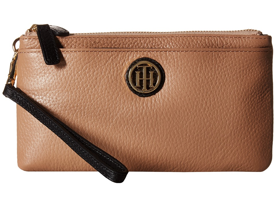 Tommy Hilfiger - Double Zip Wristlet Leather (Sand/Black) Wristlet Handbags