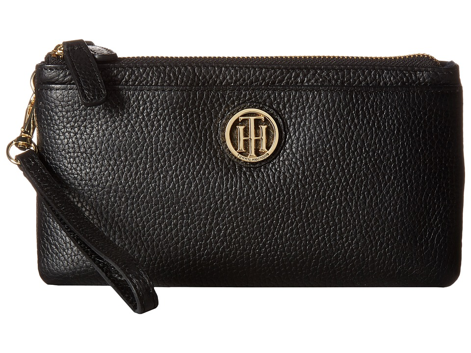 Tommy Hilfiger - Double Zip Wristlet Leather (Black/Navy) Wristlet Handbags