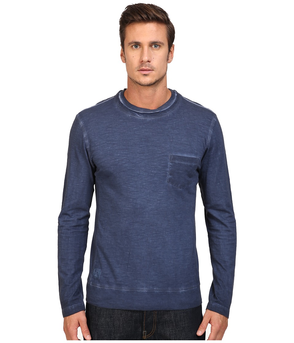 Vintage 1946 - Slub Knit Double Crew Long Sleeve Tee (Indigo) Men's T Shirt