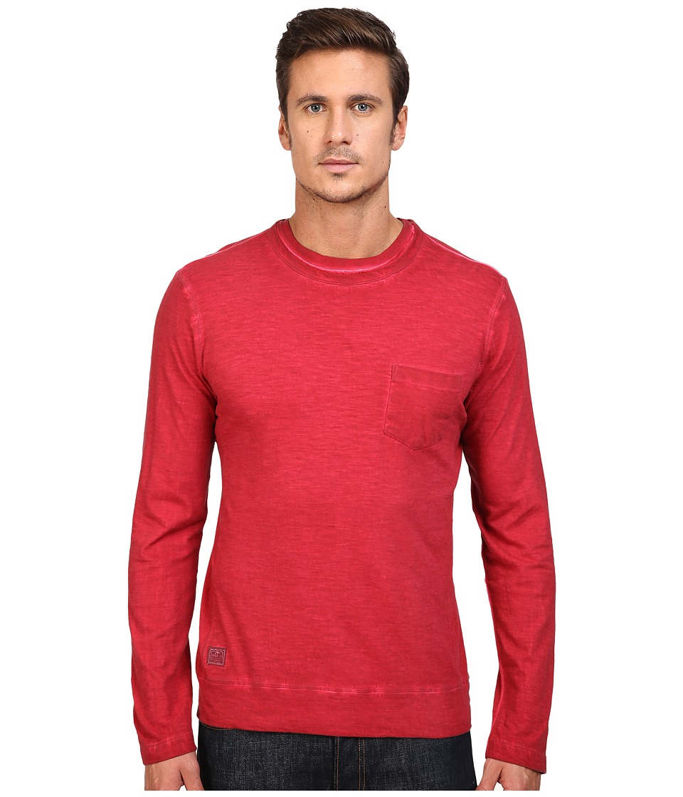 Vintage 1946 - Slub Knit Double Crew Long Sleeve Tee (Red) Men's T Shirt