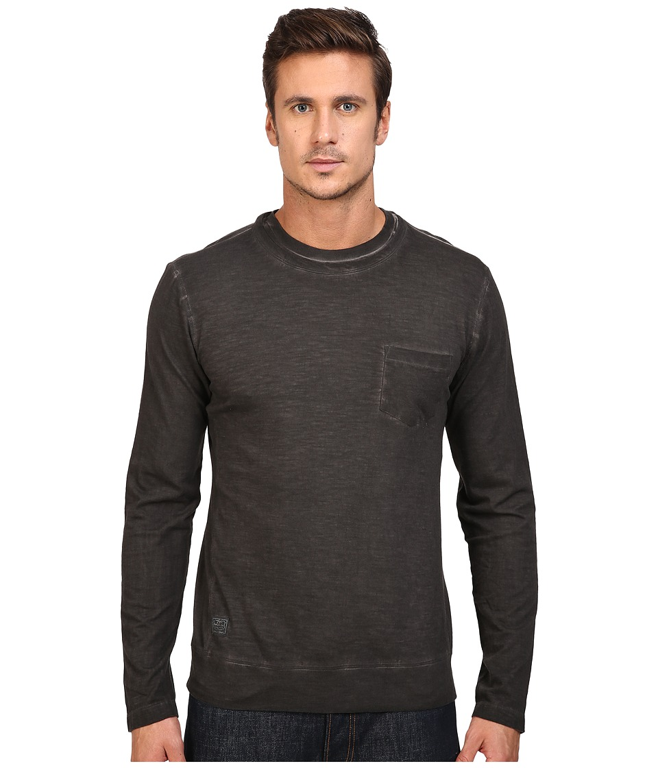 Vintage 1946 - Slub Knit Double Crew Long Sleeve Tee (Coal) Men's T Shirt