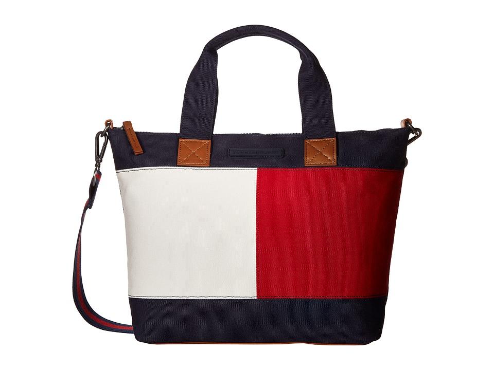 Tommy Hilfiger - Flag Color Block Convertible Shopper Canvas (Tommy Navy) Handbags