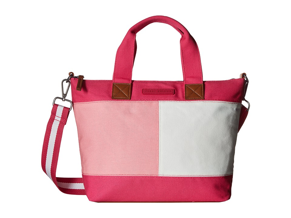 Tommy Hilfiger - Flag Color Block Convertible Shopper Canvas (Fuchsia) Handbags
