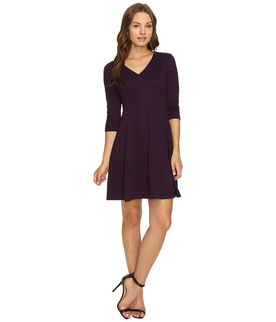 Taylor - Knit Jacquard Fit and Flare Dress (Navy/Plum) Women's Dress