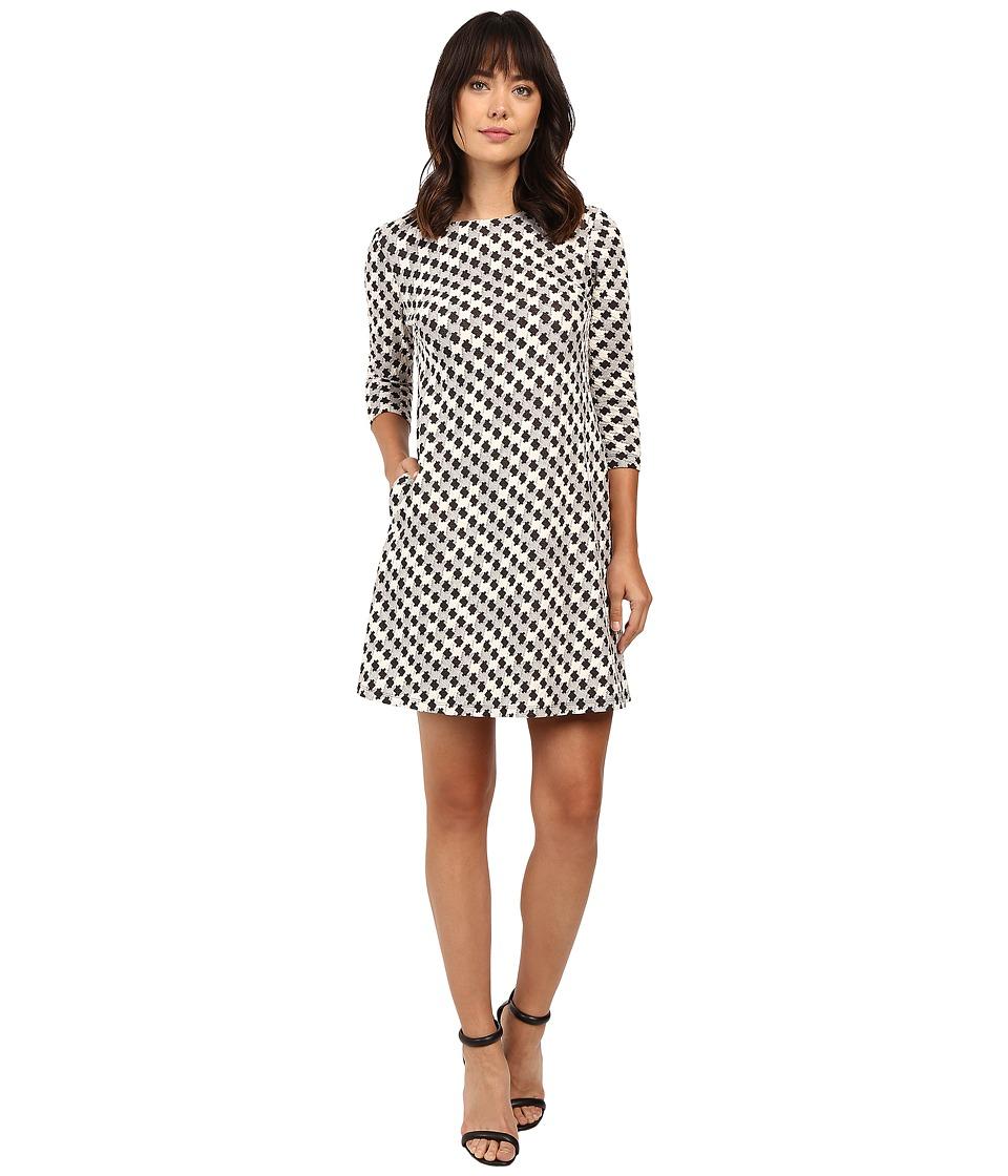 Taylor - Knit Jacquard A-Line Dress (Cream/Black) Women's Dress
