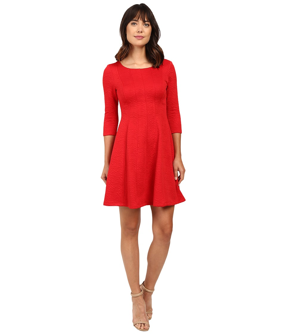 Taylor - Knit Jacquard Fit and Flare Dress (Red) Women's Dress
