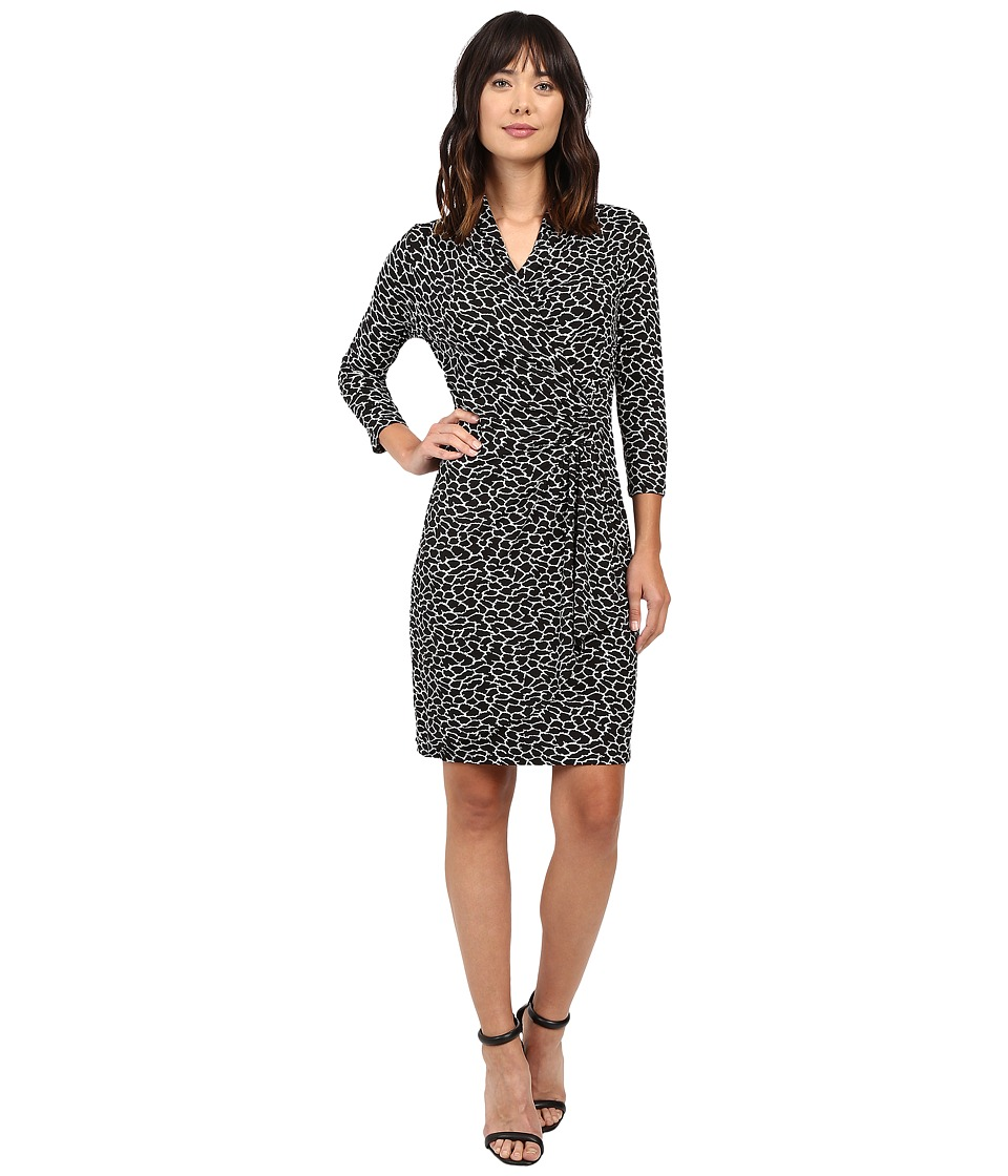 Karen Kane 3/4 Sleeve Cascade Wrap Dress (Black/Off-White) Women