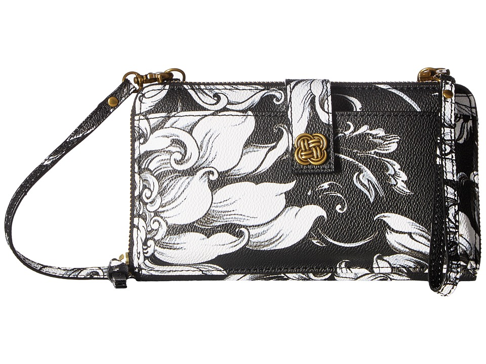 Elliott Lucca - Theo Large Smartphone Crossbody (Black/White Wildflower) Cross Body Handbags