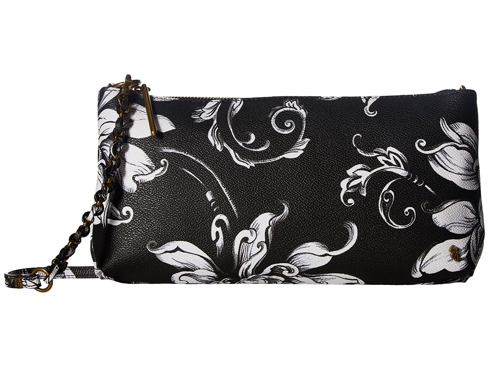 Elliott Lucca - Artisan 3 Way Demi Clutch (Black/White Wildflower) Clutch Handbags