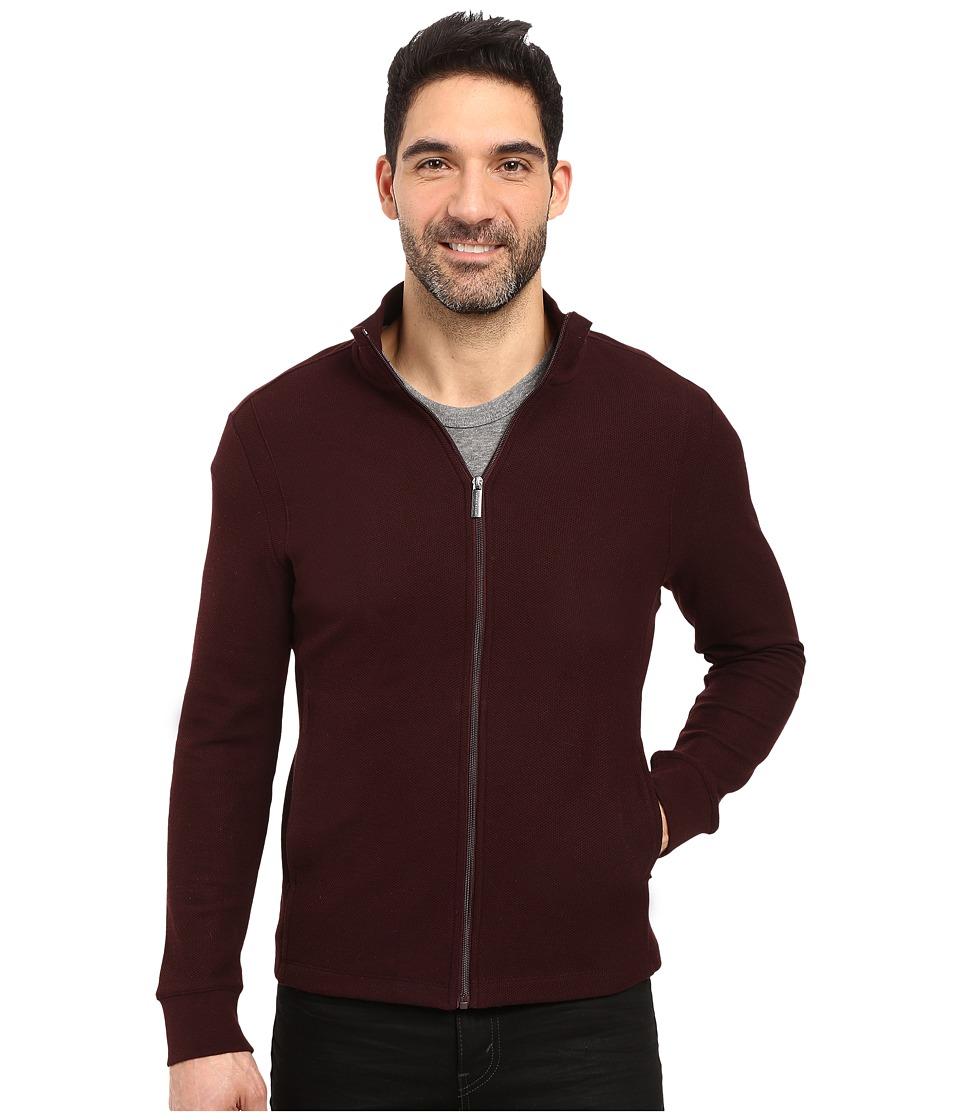 Perry Ellis - Classic Full Zip Texture Knit Jacket (Port) Men's Coat