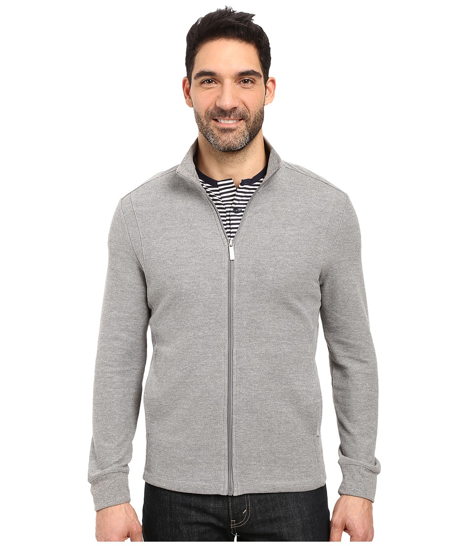 Perry Ellis - Classic Full Zip Texture Knit Jacket (Heather Grey) Men's Coat