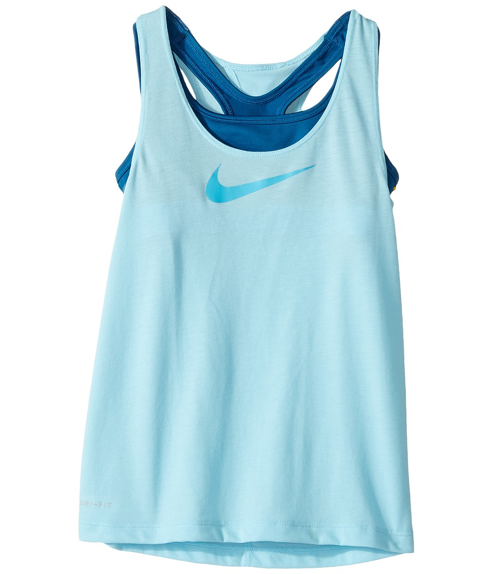 Nike Kids - Breathe 2-in-1 Training Tank (Little Kids/Big Kids) (Still Blue/Industrial Blue/Chlorine Blue) Girl's Sleeveless