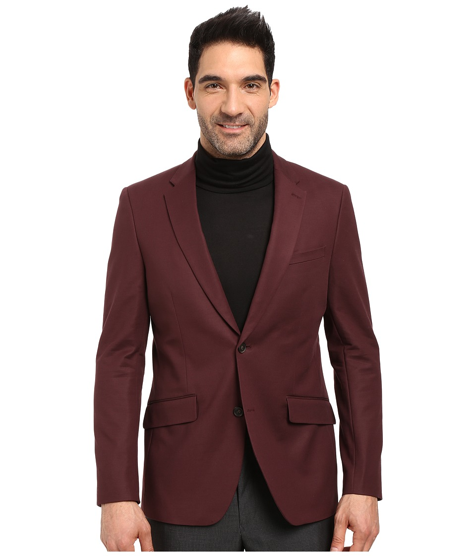 Perry Ellis - Slim Fit Stretch Solid Sateen Suit Jacket (Port) Men's Coat