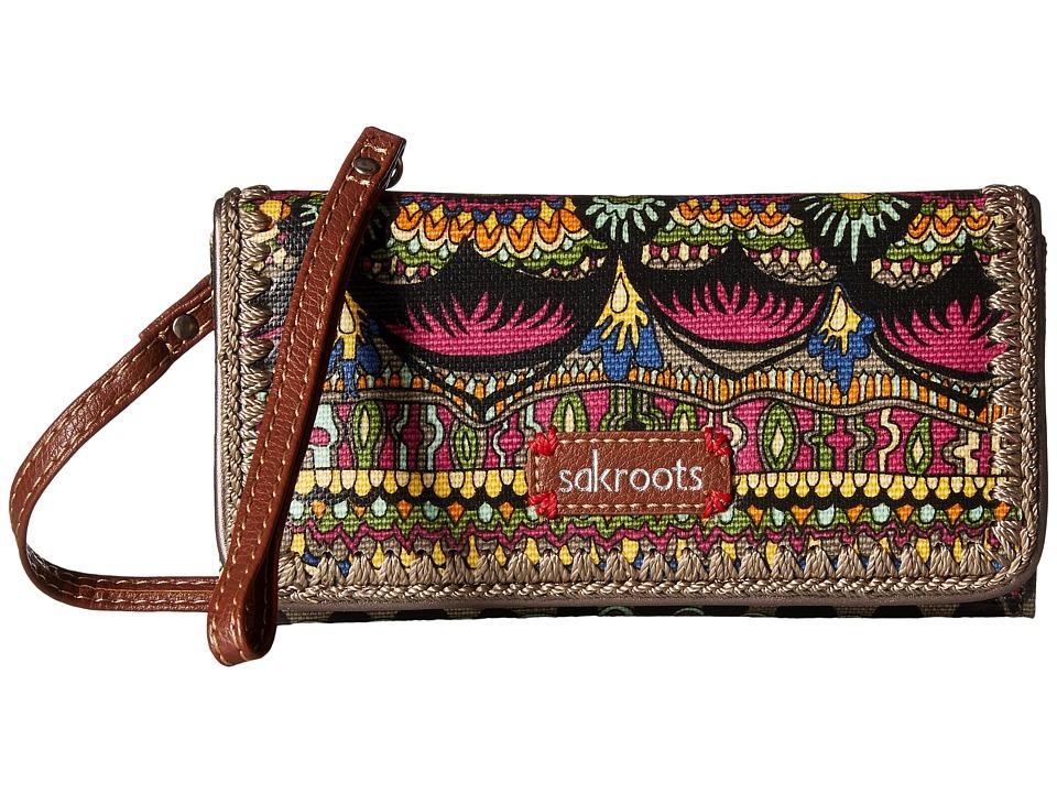 Sakroots - Artist Circle Tech Wallet Crossbody (Charcoal One World) Cross Body Handbags
