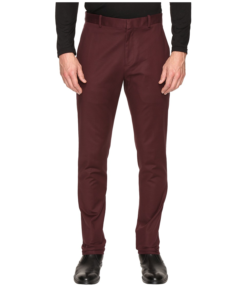 Perry Ellis - Slim Fit Stretch Solid Sateen Dress Pants (Port) Men's Dress Pants