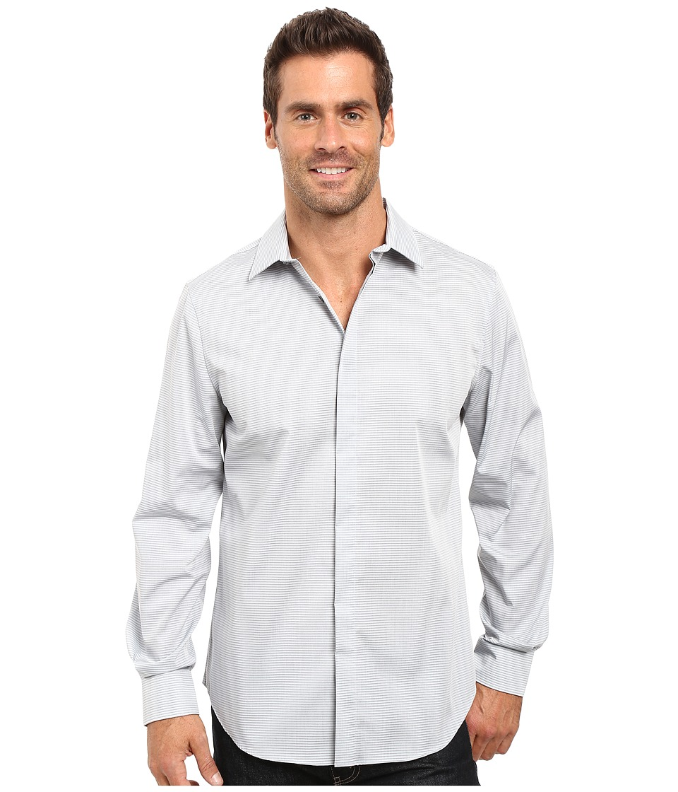 Perry Ellis - Regualr Fit Stretch Horizontal Fine Stripe Shirt (Chromite) Men's Clothing