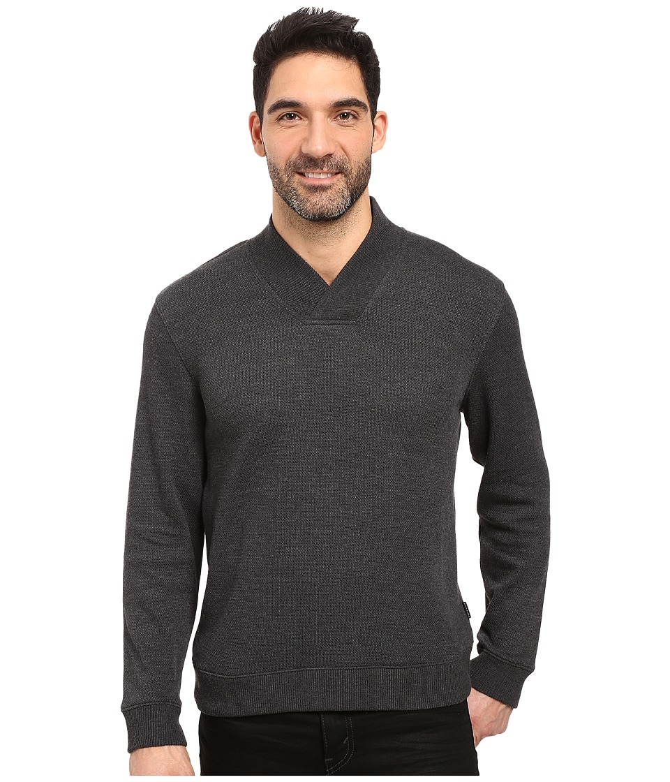 Perry Ellis - Textured Crossover V-Neck (Charcoal Heather) Men's Clothing